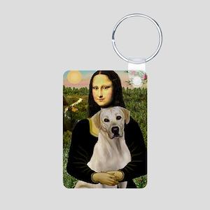 Mona & her Yellow Lab Aluminum Photo Keychain