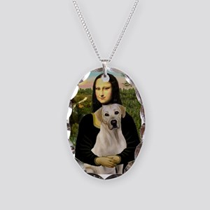 Mona & her Yellow Lab Necklace Oval Charm