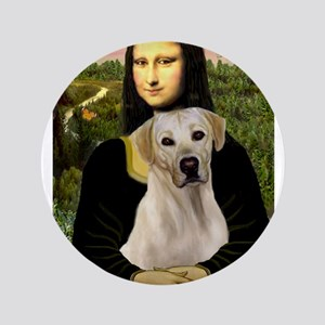 "Mona & her Yellow Lab 3.5"" Button"