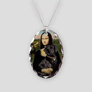 Mona's Black Lab Necklace Oval Charm
