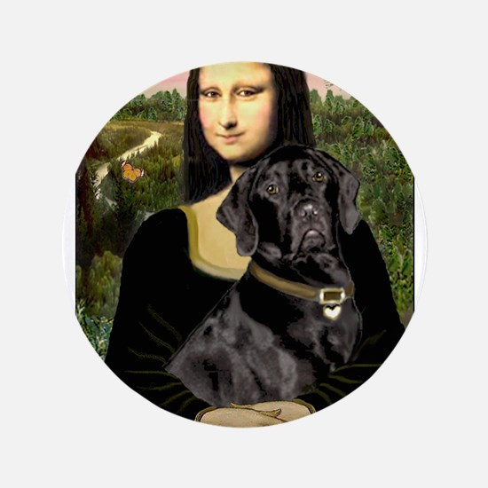 "Mona's Black Lab 3.5"" Button"