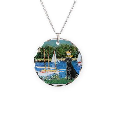 Sailboats & Black Lab Necklace Circle Charm