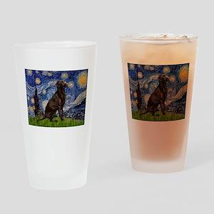 Starry Chocolate Lab Drinking Glass