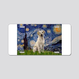 Starry Night Yellow Lab Aluminum License Plate