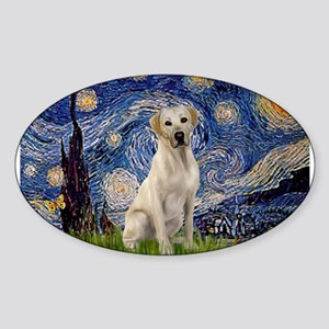 Starry Night Yellow Lab Sticker (Oval)