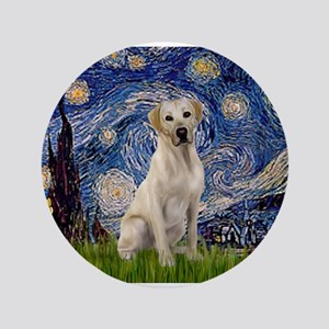 "Starry Night Yellow Lab 3.5"" Button"