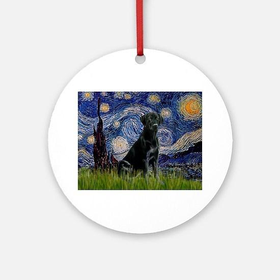 Starry Night Black Lab Ornament (Round)