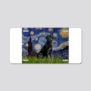Starry Night Black Lab Aluminum License Plate