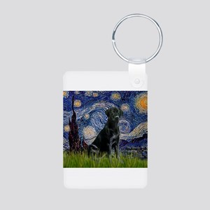 Starry Night Black Lab Aluminum Photo Keychain
