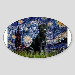Starry Night Black Lab Sticker (Oval)