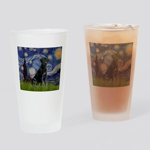 Starry Night Black Lab Drinking Glass