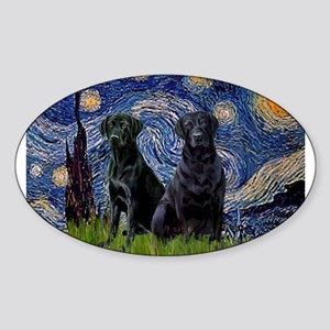 Starry Night / 2 Black Labs Sticker (Oval)
