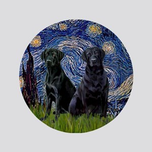 "Starry Night / 2 Black Labs 3.5"" Button"