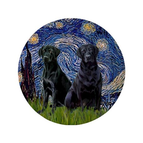 """Starry Night / 2 Black Labs 3.5"""" Button"""