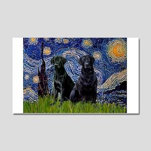 Starry Night / 2 Black Labs Car Magnet 20 x 12