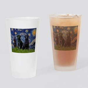Starry Night / 2 Black Labs Drinking Glass