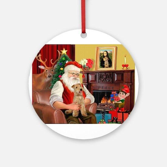 Santa/Lakeland Terrier Ornament (Round)