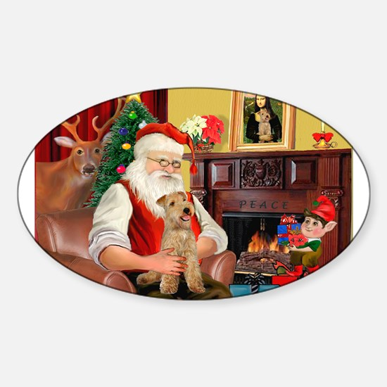 Santa/Lakeland Terrier Sticker (Oval)