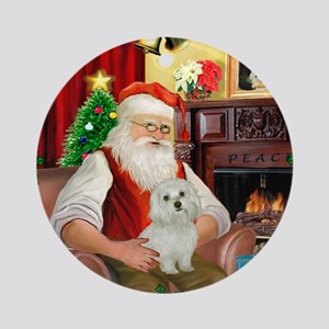 Santa's Maltese 11 Ornament (Round)
