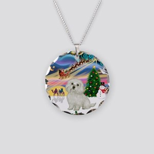 XmasMagic/Maltese #11 Necklace Circle Charm