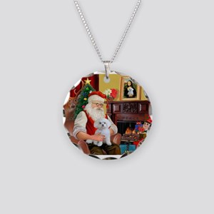 Santa's Maltese (#11) Necklace Circle Charm