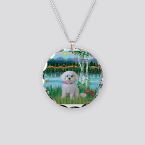 Birches / Maltese (R) Necklace Circle Charm