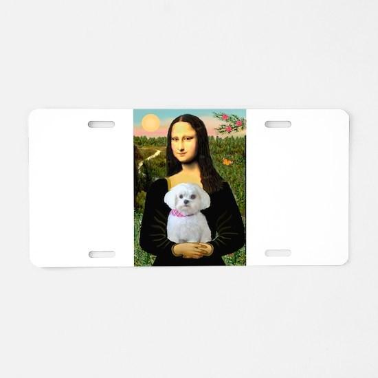 Mona's Maltese (R) Aluminum License Plate