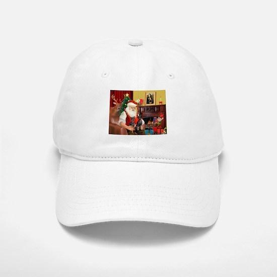 Santa's 2 Mun Pinschers Baseball Baseball Cap
