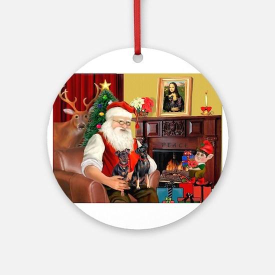 Santa's 2 Mun Pinschers Ornament (Round)