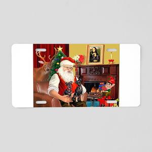 Santa's 2 Mun Pinschers Aluminum License Plate
