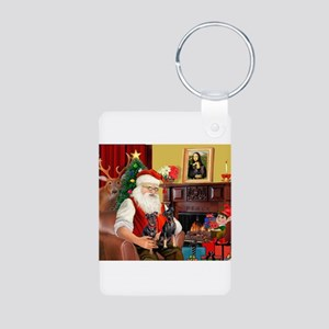 Santa's 2 Mun Pinschers Aluminum Photo Keychain
