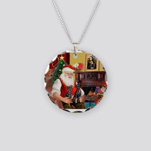 Santa's 2 Mun Pinschers Necklace Circle Charm