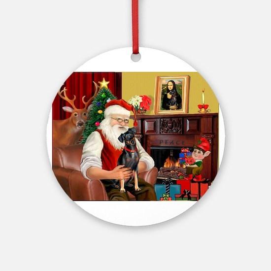 Santa'sMiniature Pinscher Ornament (Round)