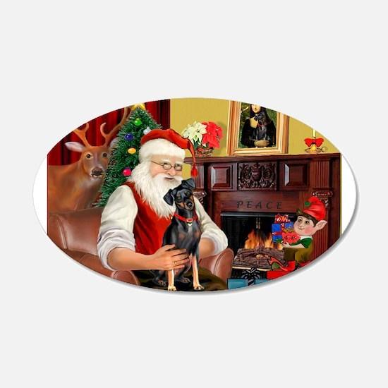 Santa'sMiniature Pinscher 22x14 Oval Wall Peel