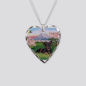 Blossoms & Min Necklace Heart Charm