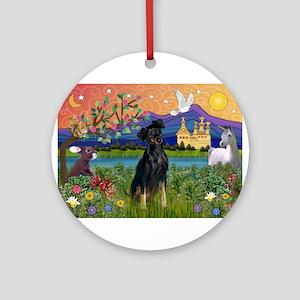 Fantasy Land & Min. Pinscher Ornament (Round)