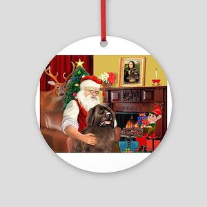 Santa's Newfoundland (br) Ornament (Round)