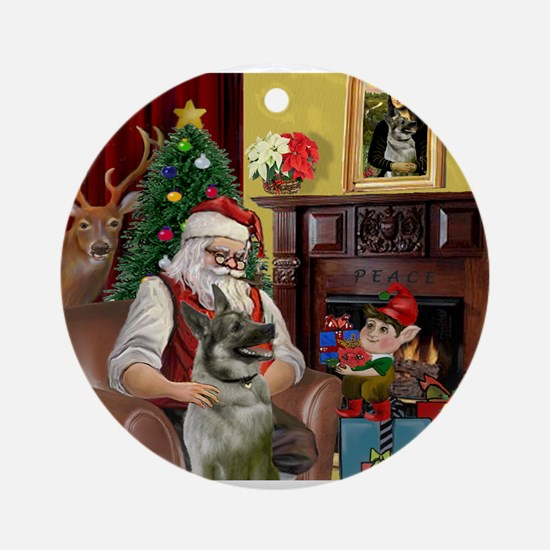 Santa's Norweigian Elkhound Ornament (Round)