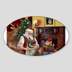Santa's Norweigian Elkhound Sticker (Oval)