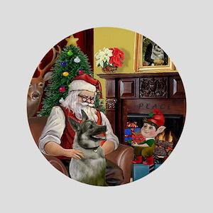 """Santa's Norweigian Elkhound 3.5"""" Button"""