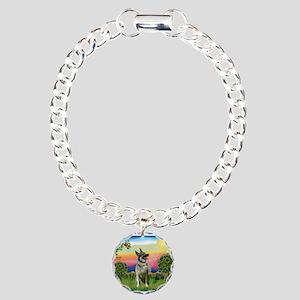 Norwegian Elkhound Country Charm Bracelet, One Cha