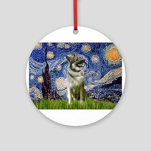 Starry Night Elkhound Ornament (Round)