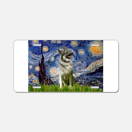 Starry Night Elkhound Aluminum License Plate
