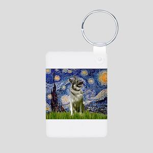 Starry Night Elkhound Aluminum Photo Keychain