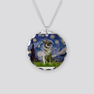 Starry Night Elkhound Necklace Circle Charm