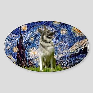 Starry Night Elkhound Sticker (Oval)