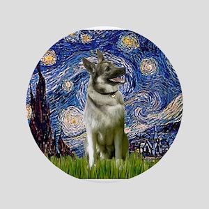 """Starry Night Elkhound 3.5"""" Button"""