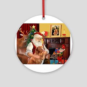 Santa/Nova Scotia Dog Ornament (Round)