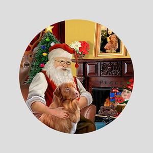 "Santa/Nova Scotia Dog 3.5"" Button"