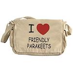 I heart friendly parakeets Messenger Bag
